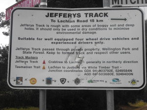 Jeffrey's Track: for suitable vehicles only