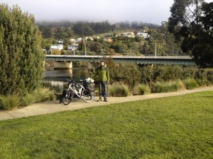 The mist finally rising above the hills in Huonville